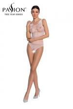 Body résille ouvert BS086 - Blanc - Body blanc très sexy en résille avec ouverture intime, marque Passion.