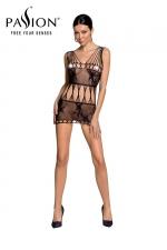 Robe nue résille BS090 - Noir - Robe en résille noire motif papillon de la marque Passion.